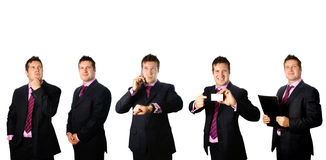 Businessman in different poses Royalty Free Stock Photos