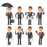 Businessman in different poses Stock Photos
