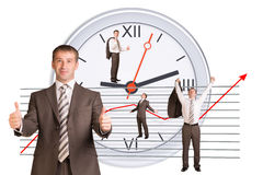 Businessman in different postures. On abstract white background Royalty Free Stock Images