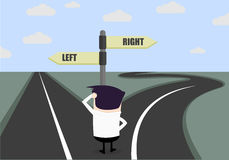 Businessman difficult choice. Confused businessman looking at a roadsign, difficult choice concept Royalty Free Stock Photos