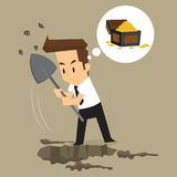 Businessman dig for treasure. Vector Royalty Free Stock Photography