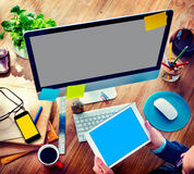 Businessman Digital Devices Using Working Concept Royalty Free Stock Photo