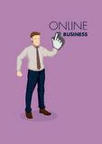 Businessman with Digital Finger Click Symbol for Vector Cartoon. Cartoon business professional with digital finger click symbol on hand. Vector illustration for Stock Images