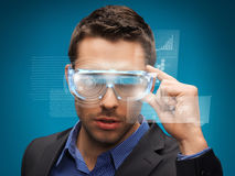 Businessman with digital glasses Royalty Free Stock Photo