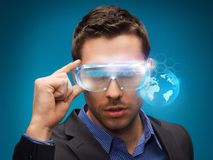Businessman with digital glasses Royalty Free Stock Images