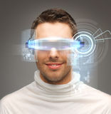 Businessman with digital glasses Stock Photo