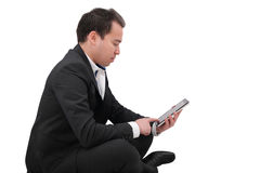 Businessman with digital pad touch Royalty Free Stock Images