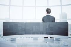 Businessman and digital panel Royalty Free Stock Photos