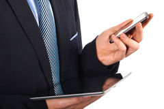 Businessman with digital tablet stock photography