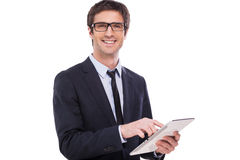 Businessman with digital tablet. Royalty Free Stock Images