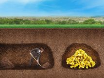 Businessman digs a tunnel to treasure. Underground Stock Images