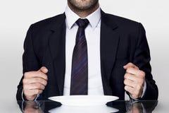 Businessman dining Stock Photo