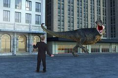 Businessman, Dinosaur, T-Rex, City Street. Surreal scene of a city street scene with a tyrannosaurus rex dinosaur attacking a businessman. Abstract concept for stock photos