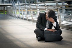 Businessman is disappointed from losing in stock exchange, econo Stock Image