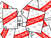 Businessman and discount ads Stock Images