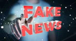 Businessman discovering fake news information 3D rendering. Businessman on blurred background discovering fake news information 3D rendering Royalty Free Stock Photography