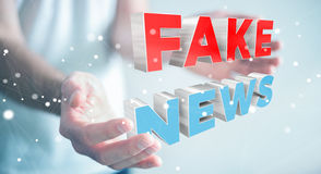 Businessman discovering fake news information 3D rendering. Businessman on blurred background discovering fake news information 3D rendering Stock Images