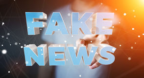 Businessman discovering fake news information 3D rendering. Businessman on blurred background discovering fake news information 3D rendering Royalty Free Stock Images