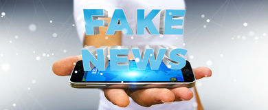 Businessman discovering fake news information 3D rendering. Businessman on blurred background discovering fake news information 3D rendering Stock Photo
