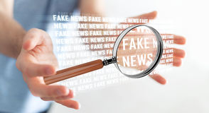 Businessman discovering fake news information 3D rendering. Businessman on blurred background discovering fake news information 3D rendering Royalty Free Stock Photos