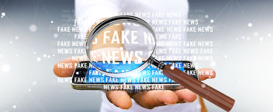 Businessman discovering fake news information 3D rendering. Businessman on blurred background discovering fake news information 3D rendering Stock Image