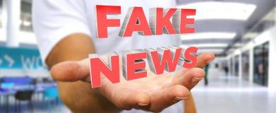 Businessman discovering fake news information 3D rendering. Businessman on blurred background discovering fake news information 3D rendering Stock Images