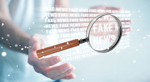 Businessman discovering fake news information 3D rendering. Businessman on blurred background discovering fake news information 3D rendering Stock Photo