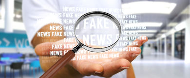 Businessman discovering fake news information 3D rendering. Businessman on blurred background discovering fake news information 3D rendering Royalty Free Stock Photo