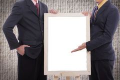 Businessman  discuss and show case to customer with white board Stock Images