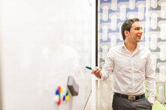 Businessman Discussing Plans at the White Board Stock Images