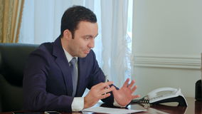 Businessman discussing project in the office stock video footage