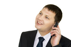 Businessman discussing to the mobile phone Stock Photo
