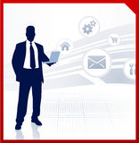 Businessman displaying internet icons Royalty Free Stock Photo