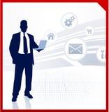 Businessman displaying internet icons Royalty Free Stock Photo