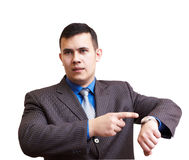 Businessman dissatisfied with delay stock photography