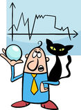 Businessman diviner cartoon. Concept Cartoon Illustration of Funny Diviner Businessman with Black Cat and Crystal Ball Royalty Free Stock Photo