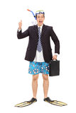 Businessman with diving equipment giving thumb up Royalty Free Stock Photography