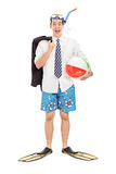Businessman with diving mask and a beach ball Stock Photography