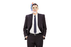 Businessman with a diving mask Stock Image