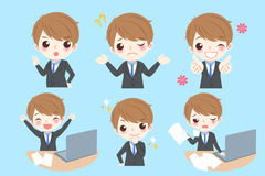 Businessman do different emotion. Set of cute cartoon businessman with different emotion on blue background Royalty Free Stock Photography