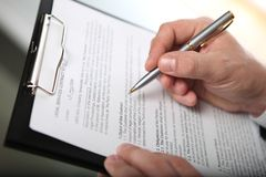 Businessman & document Stock Images