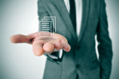 Businessman with a document icon Royalty Free Stock Photography