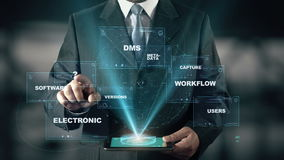 Businessman with Document Management hologram concept. Businessman with hologram in the future with futuristic tablet with success words stock video footage