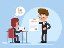 Businessman and document. Presentation contract, document. Business strategy and finance. Flat vector illustration. Businessman and document. Presentation Stock Photography