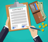 Businessman document signing up contract agreement, green background with wallet with cash dollars and coins. vector Royalty Free Stock Images