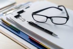 Businessman documents business report papers, job succes Analyze. Document plans stock photo