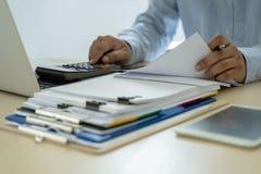 Businessman documents business report papers, job succes Analyze. Document plans stock photos
