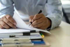 Businessman documents business report papers, job succes Analyze document plans. E stock images