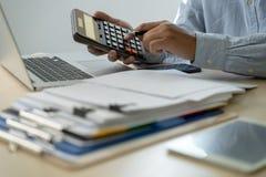Businessman documents business report papers, job succes Analyze document plans. E royalty free stock photos