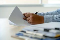 Businessman documents business report papers, job succes Analyze document plans. E stock photo